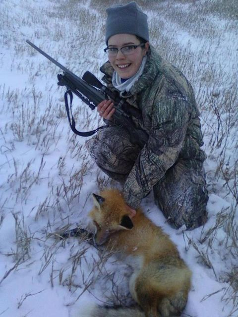 Krissy with a Christmas fox